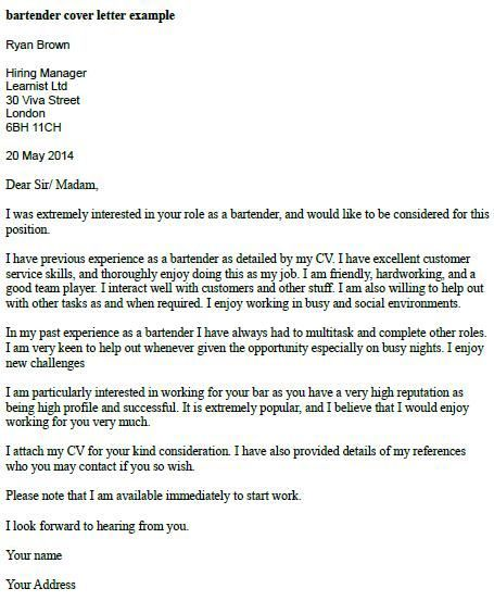 application letter for waitress job
