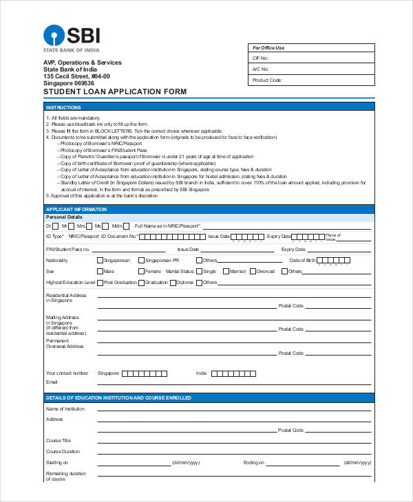 first bank loan application form