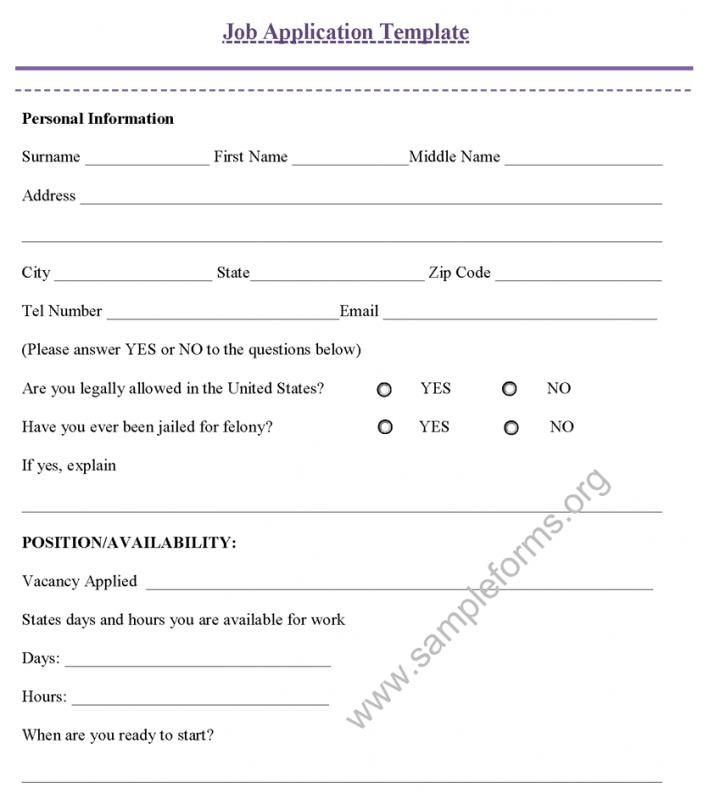 generic application form for canada