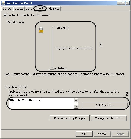 application blocked by java security exception site list not working