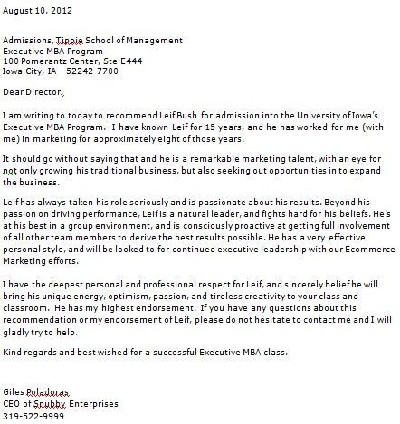 personal reference letter for college application