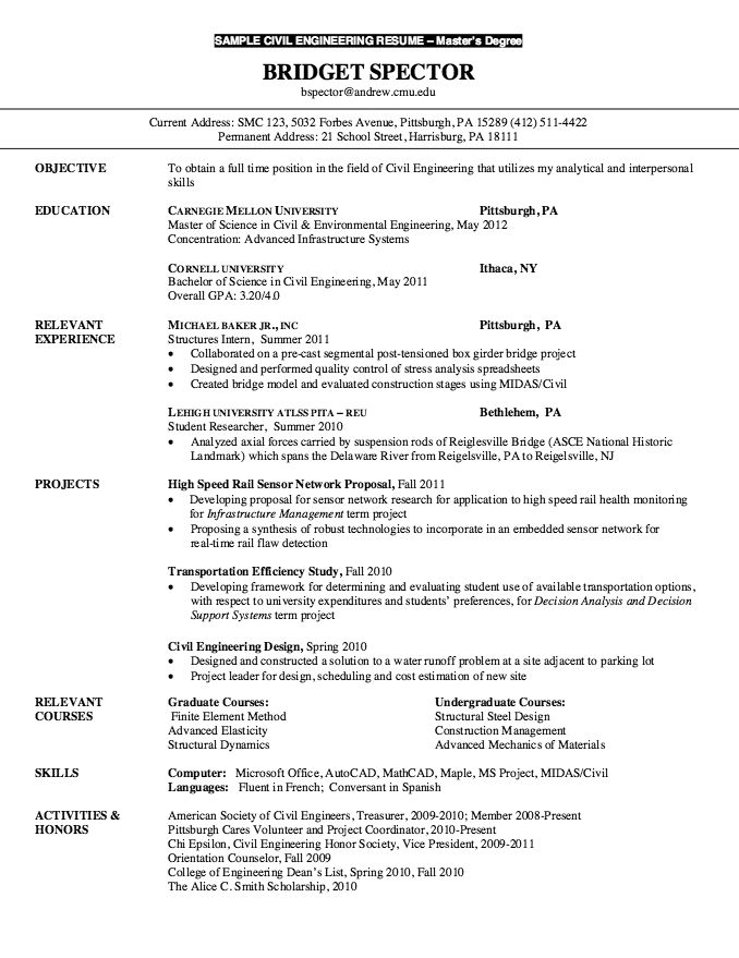 cv examples for masters application