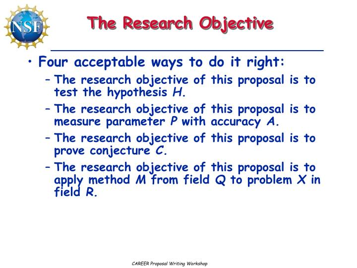 what does objective mean on an application